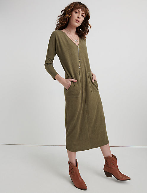 CLOUD JERSEY LONG SLEEVE DRESS, HEATHER OLIVE