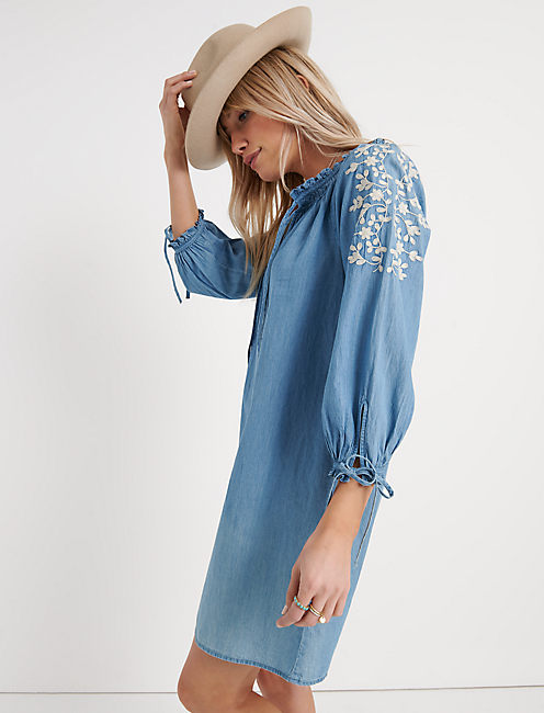 Chambray Embroidered Dress