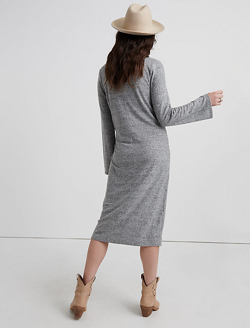 CLOUD JERSEY LONG SLEEVE DRESS, HEATHER GREY