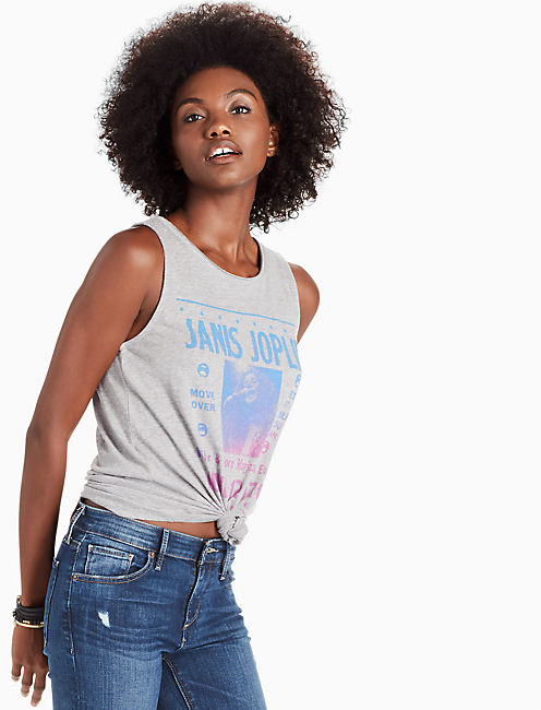 JANIS JOPLIN TANK, HEATHER GREY