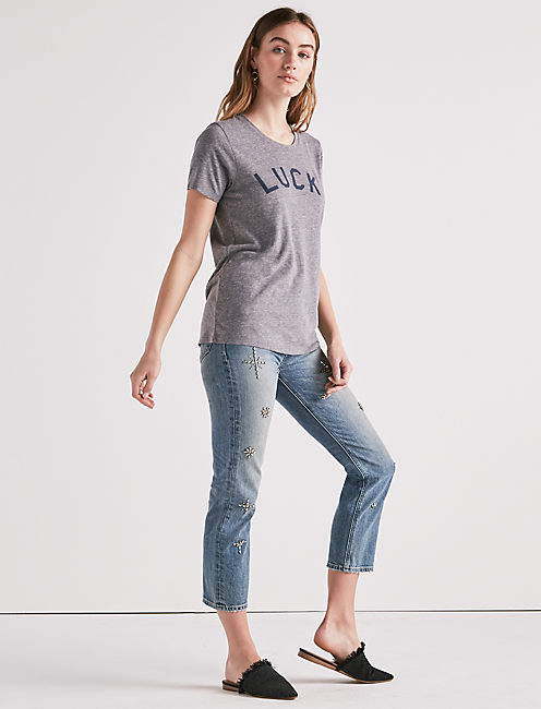 LUCKY TEE, HEATHER GREY