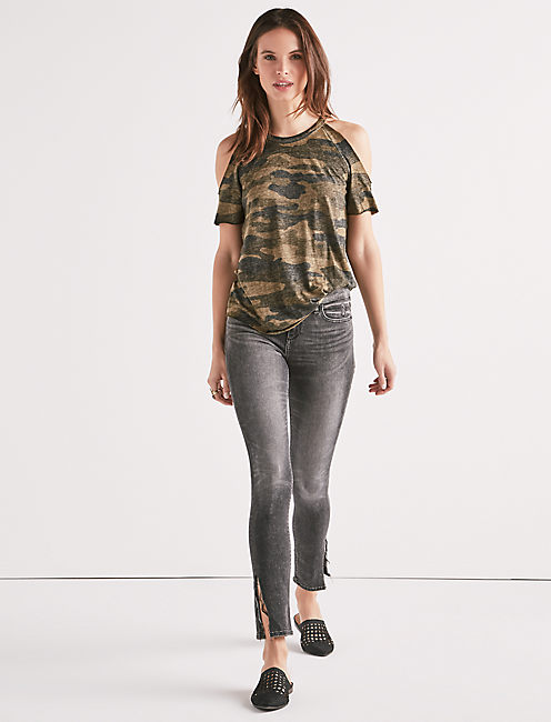Lucky Camo Cold Shoulder Tee
