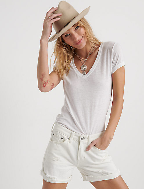 Venice Burnout V Neck, LUCKY WHITE