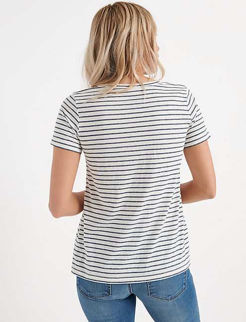Venice V Neck, NAVY STRIPE