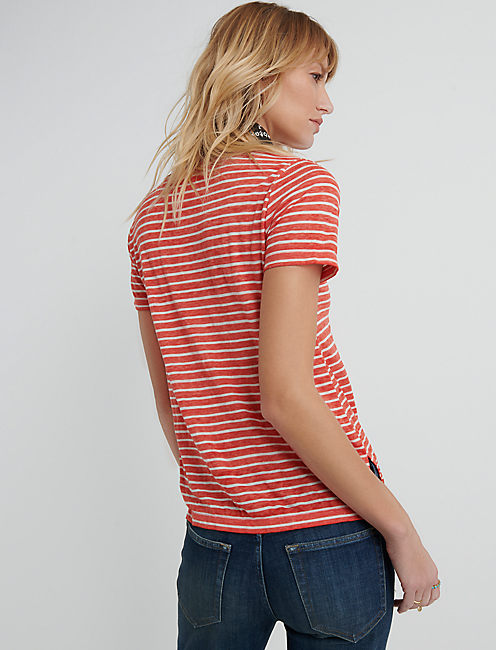 Venice V Neck, RED STRIPE