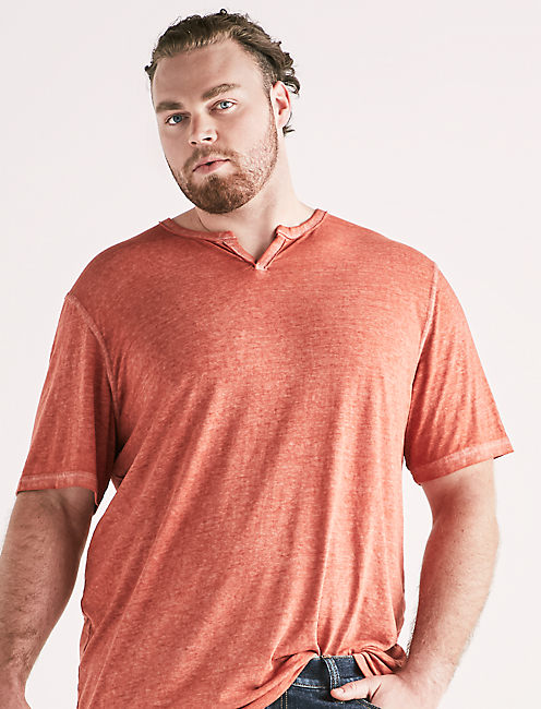 Lucky Big And Tall Venice Burnout Notch Tee