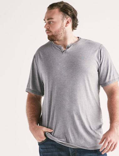 Lucky Big And Tall Venice Burnout Button Notch Tee