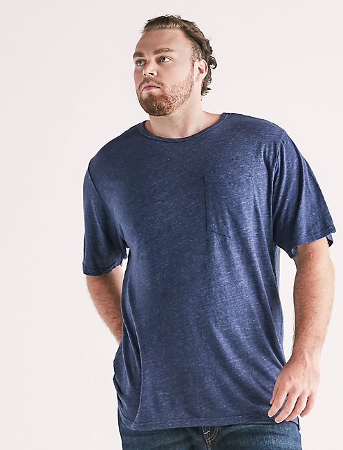 Lucky Big And Tall Linen Pocket Crew Tee