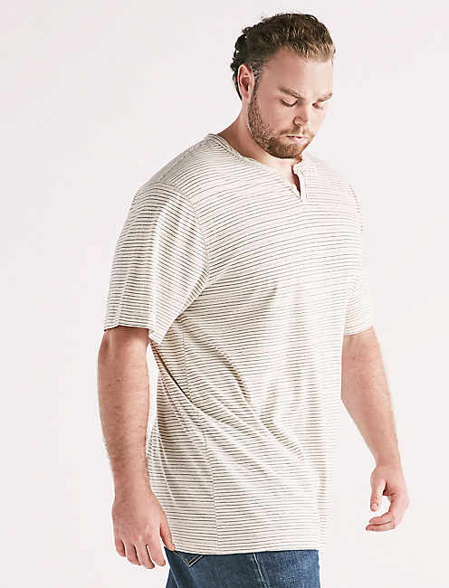 Big and Tall Linen Stripe Tee,