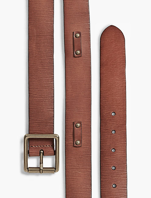 STUD LEATHER BELT, TAN