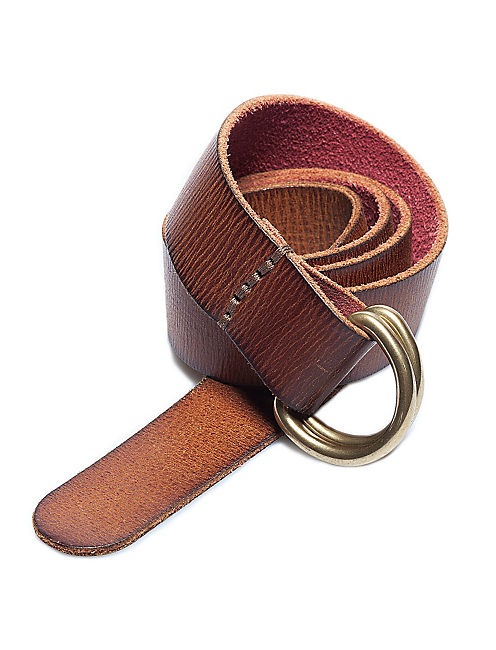 DOUBLE RING LEATHER BELT, MEDIUM BROWN