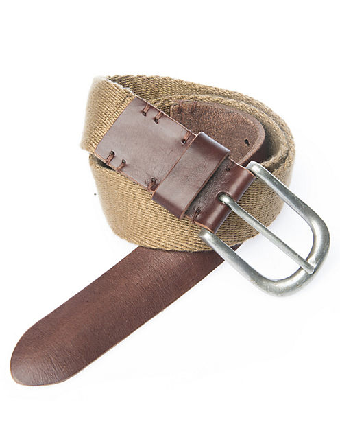 WEBBING LEATHER BELT, OPEN BEIGE/KHAKI