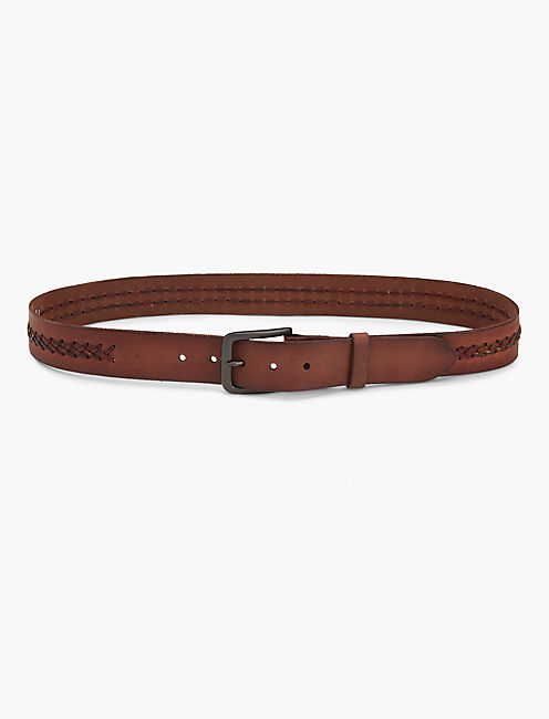 WOVEN LEATHER BELT, CHOCOLATE