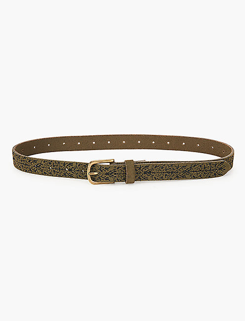 OLIVE SUEDE EMBROIDERED SKINNY BELT,