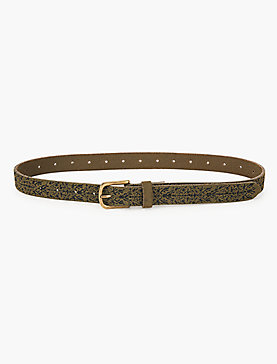 OLIVE SUEDE EMBROIDERED SKINNY BELT