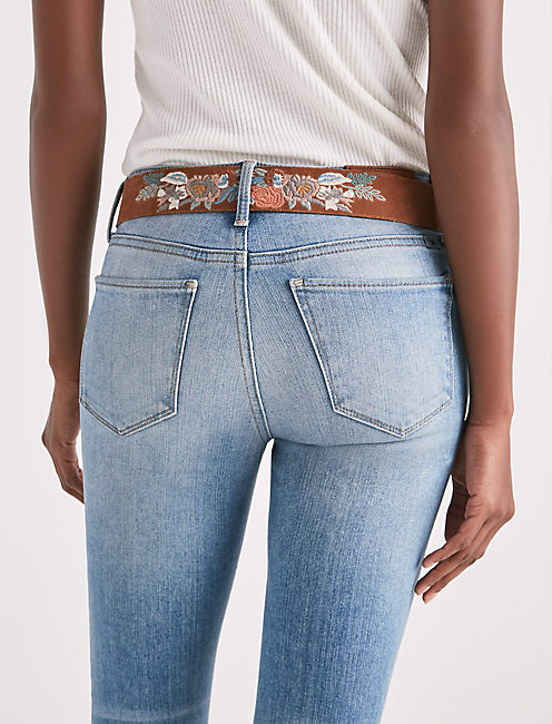 EMBROIDERED FLORAL BELT,