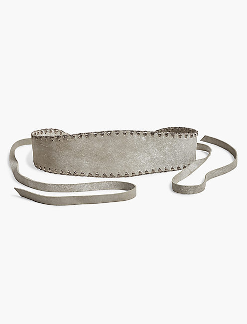 METALLIC STITCHED BELT, LIGHT GREY