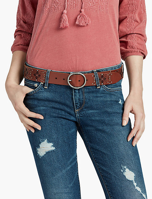 Lucky Perforated Floral Belt