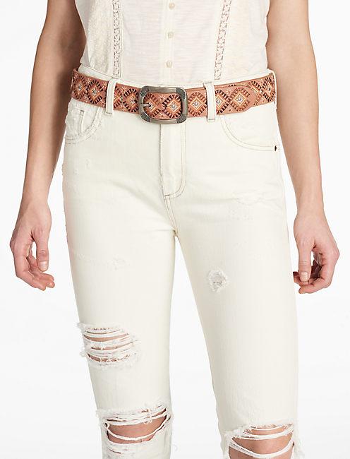 Lucky Diamond Embroidered Belt