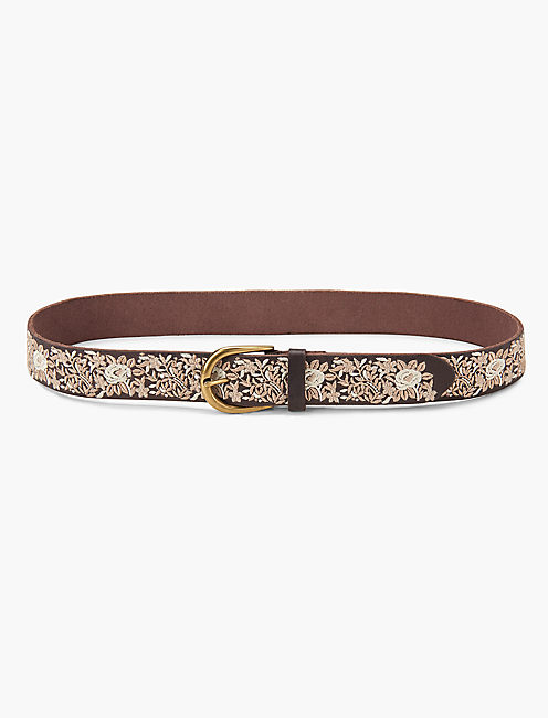 ORNATE FLORAL BELT, CREAM