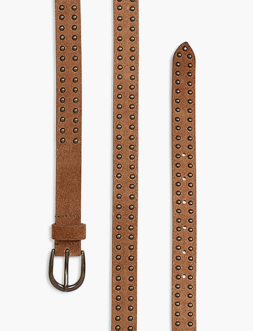 SUEDE STUD BELT, BROWN