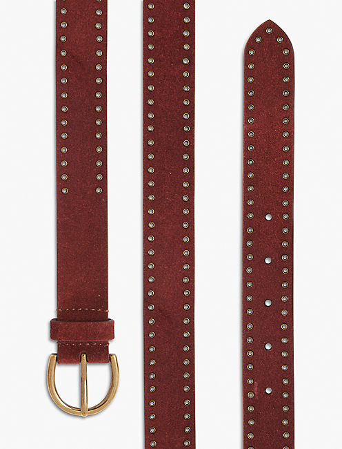 GROMMET EDGE DRESSY BELT, BURGANDY