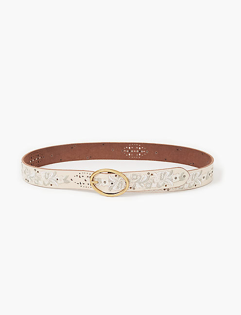 FLORAL EMBROIDERED BELT, NEUTRAL