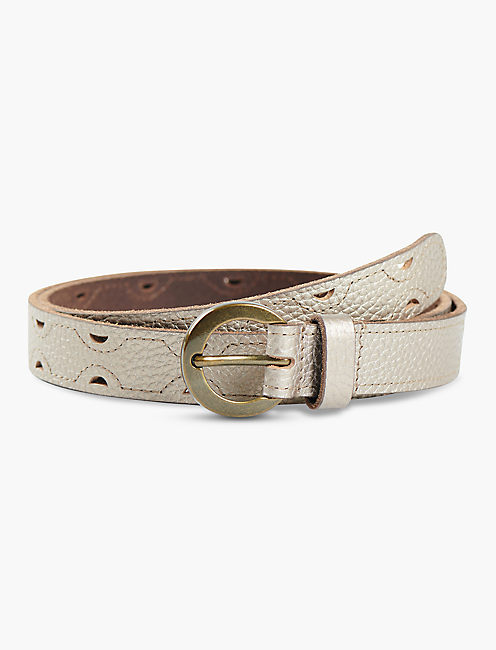 METALLIC SUEDE GROMMET BELT, GREY