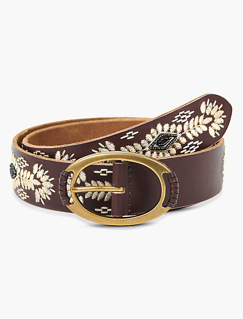 CREAM EMBROIDERY BELT, BROWN