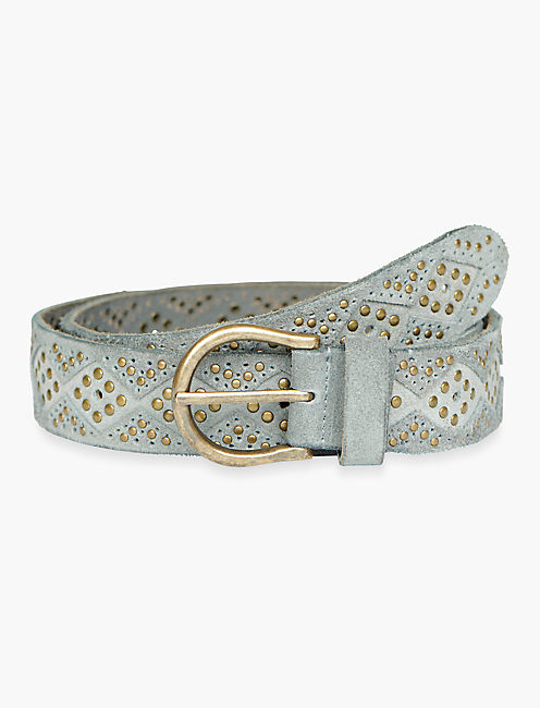 DIAMOND SUEDE BELT, DUSTY BLUE