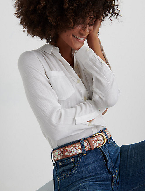 Cream Floral Embroidered Belt