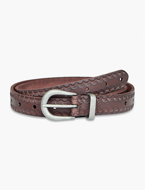SCALLOP EMBOSSED BELT WITH NOVELTY BUCKLE, CHOCOLATE