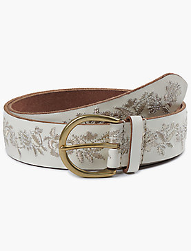 CREAM METALLIC FLORAL EMBROIDERED BELT