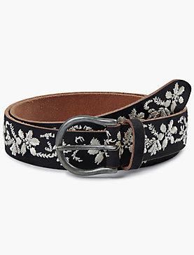 BLACK AND WHITE FLORAL EMBROIDERED BELT