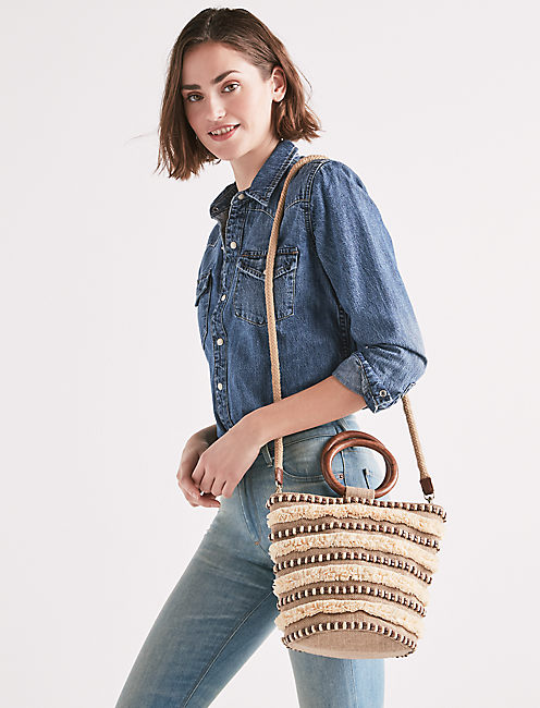 RAFFIA STRIPE CROSSBODY,