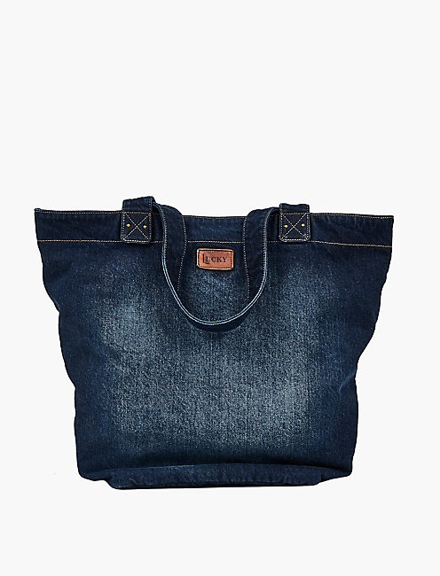 Lucky Denim Embroidered Tote