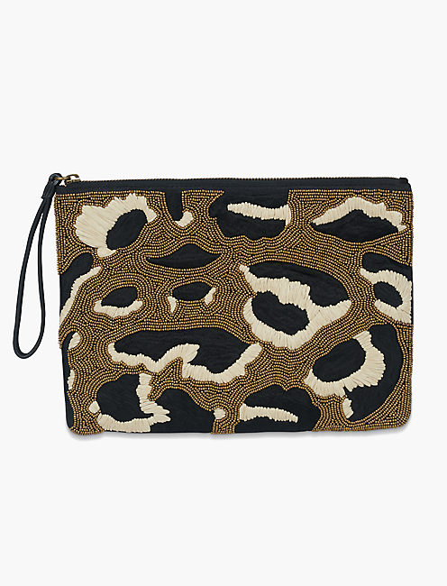 Lucky Beaded Cheetah Pouch
