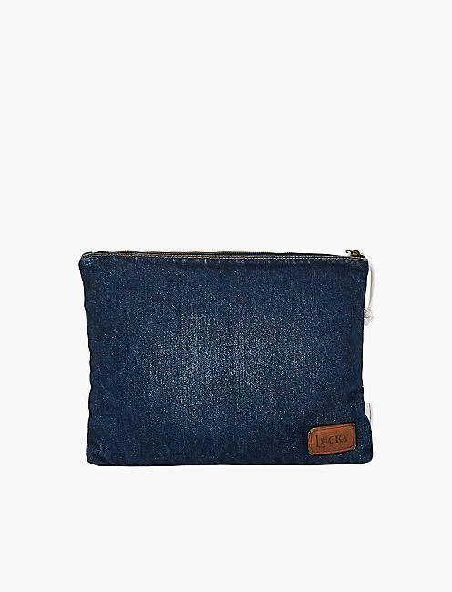 DENIM EMBROIDERY POUCH,