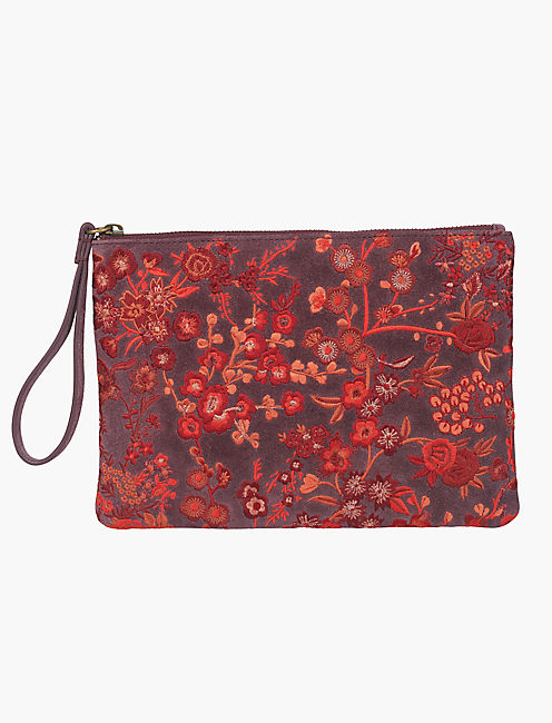 CRIMSON FLORAL EMBROIDERIED POUCH, MAROON