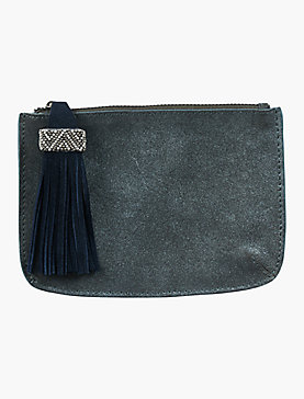 BEADED POMPOM METALLIC SMALL POUCH