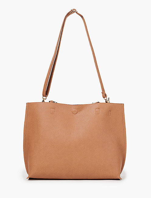 REVERSIBLE TOTE WITH BRAIDED STRAP,