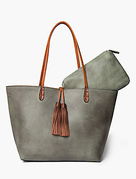 FRINGE TASSEL TOTE WITH CONTRAST STRAPS
