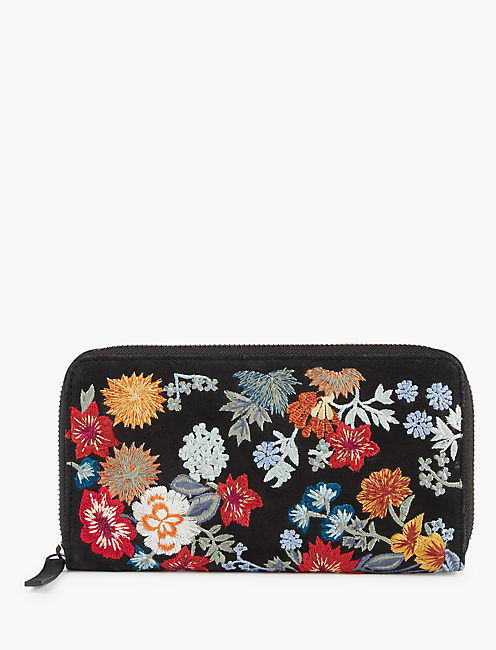 FLORAL EMBROIDERED WALLET, MULTI