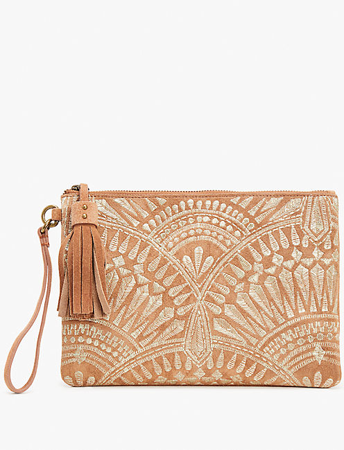 GOLDEN EMBROIDERY CLUTCH, TAN