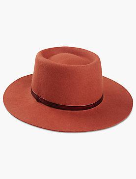 VELVET TRIM WOOL HAT