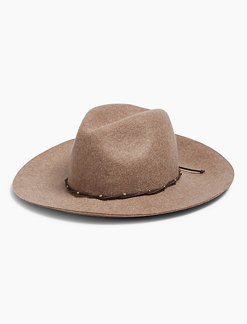 STUD LEATHER PANAMA HAT, OATMEAL