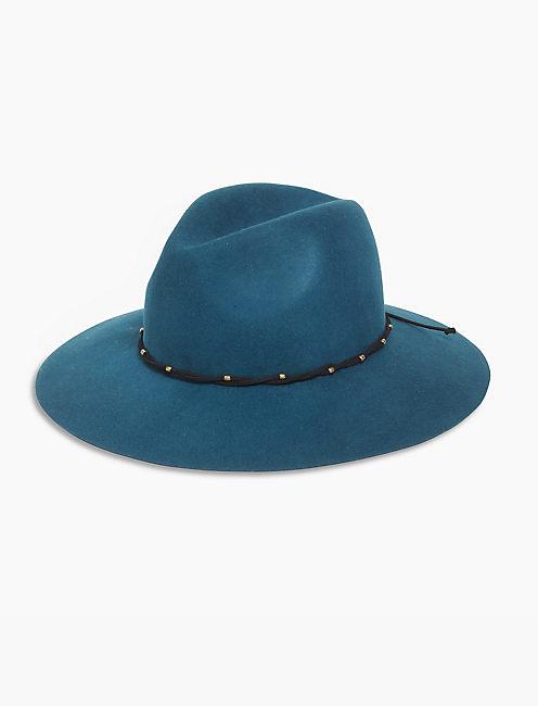 STUD LEATHER PANAMA HAT,