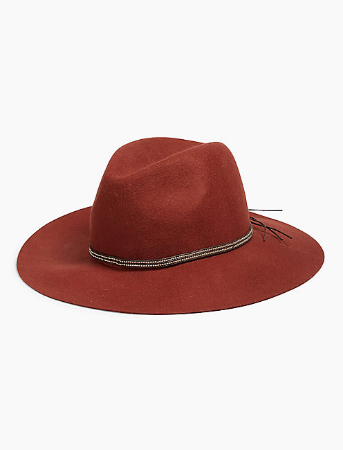 BEADED TRIM PANAMA HAT,