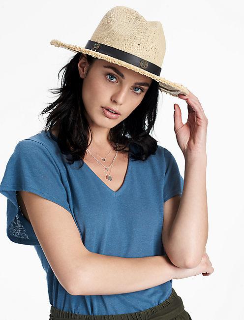 LUCKY BEADED TRIM STRAW HAT