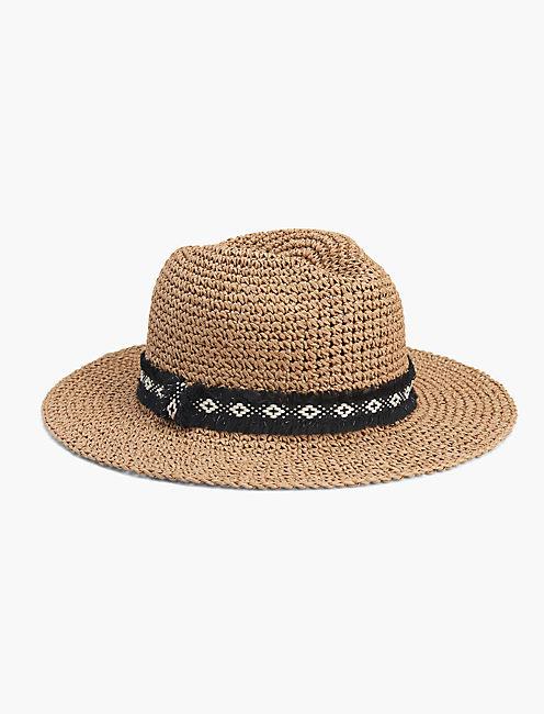 DIAMOND TRIM STRAW HAT,